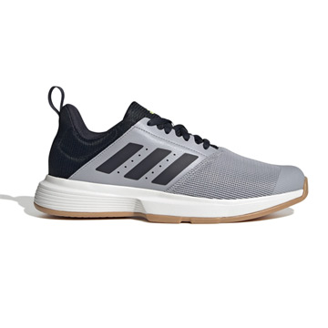 Adidas Essence Court Shoes (Halo Silver-Legend Ink/High-Res Yellow)