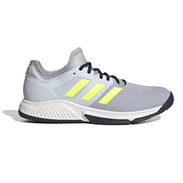 Adidas Court Team Bounce Indoor Court Shoes (Halo Silver-High-Res Yellow/Halo Blue)